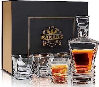 KANARS 5-teiliges Whiskey Karaffe Set, 800ml Whisky Dekanter mit 4X 260ml Gläser, Bleifrei Kristallgläser, Schöne Geschenk Box, Hochwertig