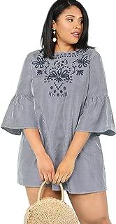 Floerns Women's Plus Size Bell Sleeve Embroidery Pinstripe Dress