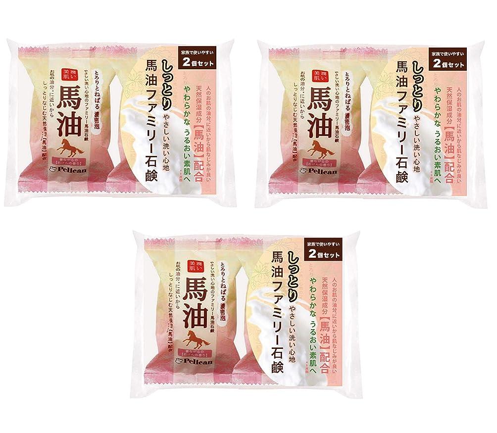 気候中古懸念【まとめ買い】ペリカン石鹸 ファミリー 馬油石鹸 2P ×3個セット