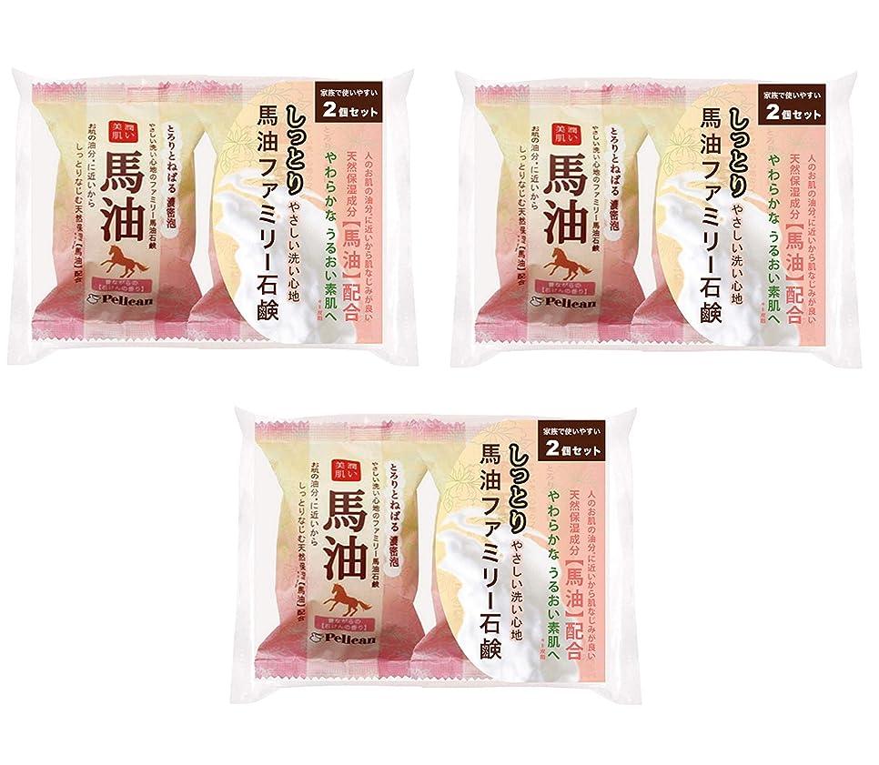 さておき詩マーキー【まとめ買い】ペリカン石鹸 ファミリー 馬油石鹸 2P ×3個セット