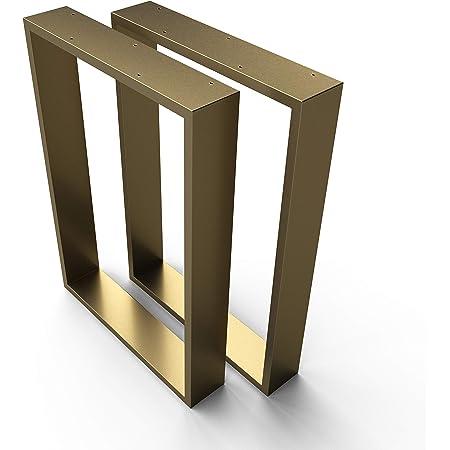 sossai® Design XXL Pied de Table en Profilés d'Acier TKK3   2 pièces   couleur or   Largeur 60 cm x hauteur 72 cm   style industriel
