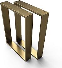 sossai® stalen tafelframe tafellopers tafelpoten XXL | TKK3 | Kleur: goud messing | 2 stuks | Breedte 70 cm x hoogte 72 cm...