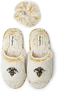 Dearfoams Women's Lane Slide with Embellishment, Giftable Cozy Slipper