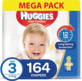 HUGGIES Ultra Comfort Diapers, Size 3, Jumbo Pack, 4-9 kg, 164 Diapers