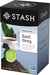 Stash Tea Earl Grey Black Tea, 20 Count Tea Bags in Foil (Pack of 6) Full Caffeine Tea, Black Tea with Bergamot, Enjoy Hot or Iced