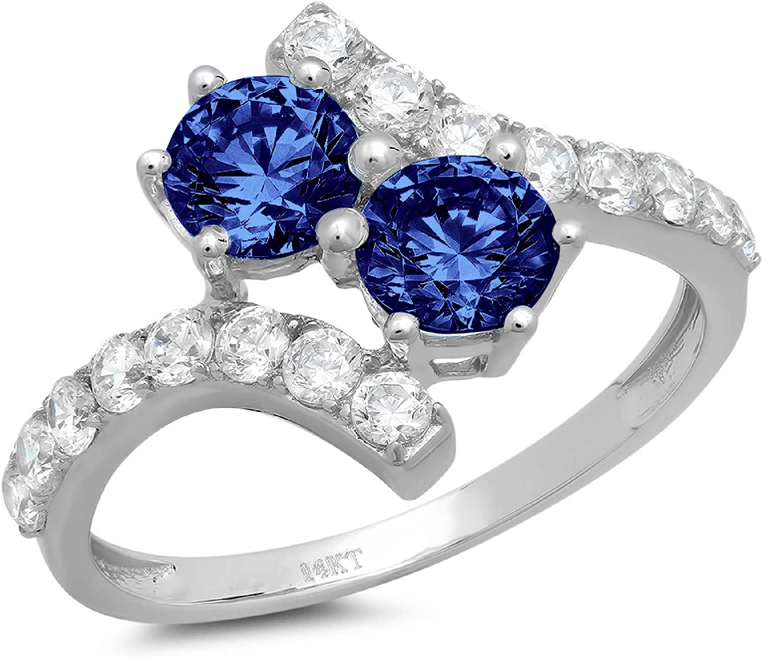 1.98 ct Round Cut 2 stone love Solitaire Genuine Flawless Simulated Tanzanite Gemstone Engagement Promise Statement Anniversary Bridal Wedding Accent Ring Solid 18K White Gold