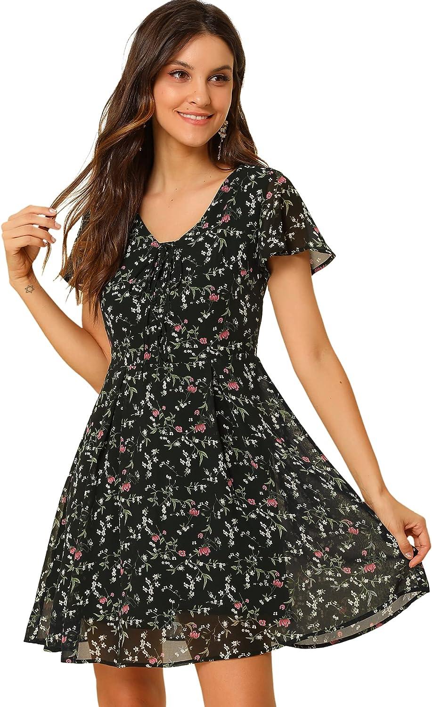 Allegra K Women's Floral Flouncing Sleeve A-line Lace-up V-Neck Chiffon Dress