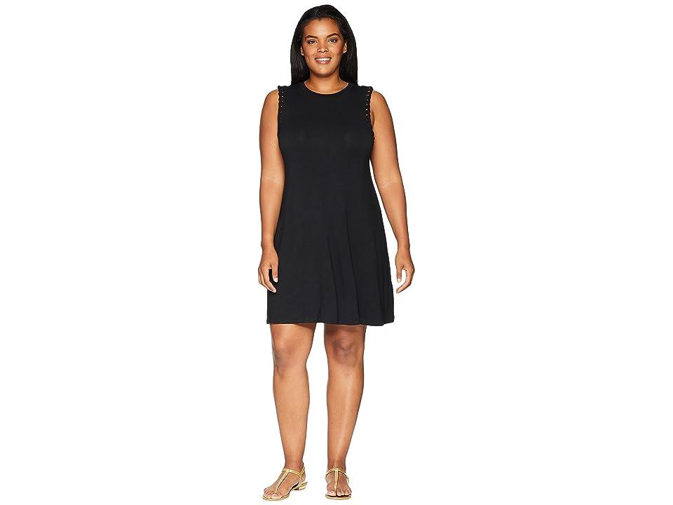 KARI LYN Plus Size Scarlette Sleeveless Mock Neck Dress (Black) Women