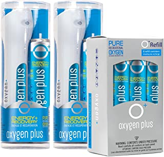 Oxygen Plus Oxygen Cans Twin Starter Refill Pack: 2 O+ Elevate Packs & 6 O+ Refills - Boost Oxygen Levels with Portable & Concentrated Recreational Oxygen for Altitude Performance & Energy