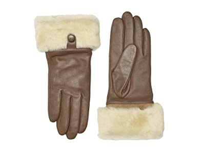 UGG Sheepskin Cuff Tech Leather Gloves (Chestnut) Extreme Cold Weather Gloves