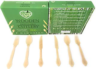 Disposable Wooden Cutlery Set | 200 pack- 7.9