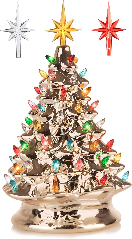Genuine Free Shipping RJ Legend 15-Inch Champagne Gold Christmas Festive Tree Ceramic Award