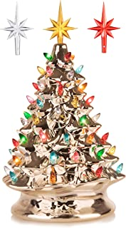 RJ Legend 15-Inch Champagne Gold Festive Ceramic Christmas Tree – Pre-lit Winter Tree..