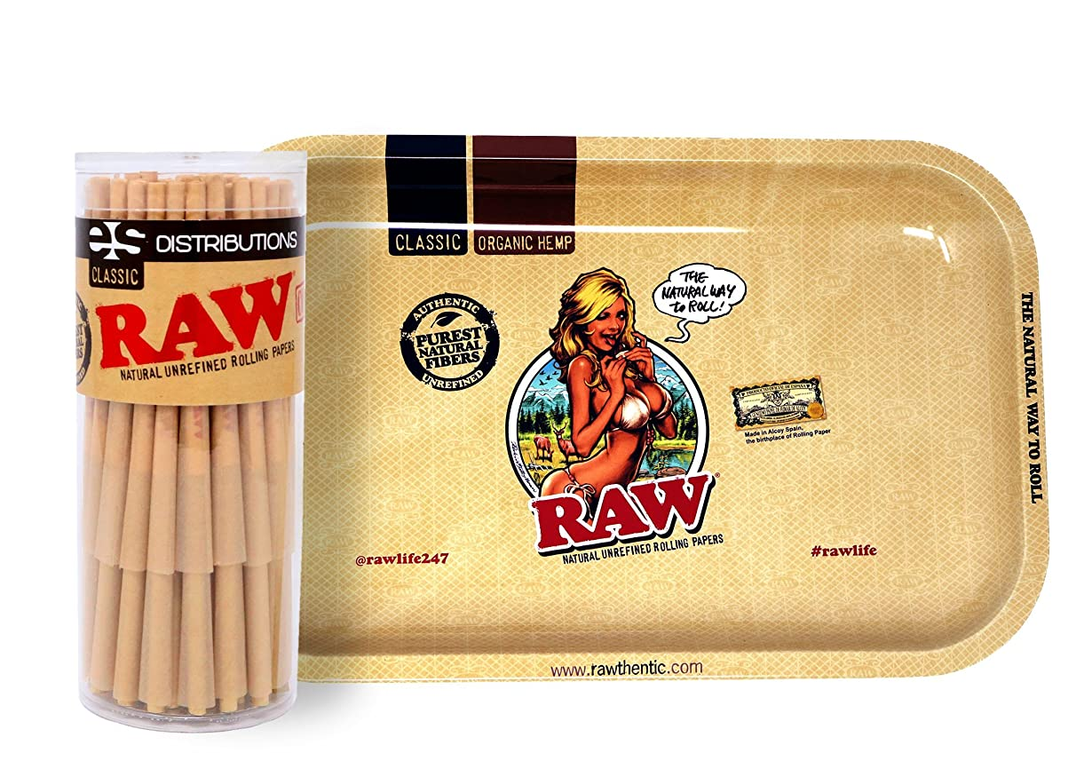 RAW Girl Design Metal Rolling Tray (Small) Bundle with 50 Classic Lean Pre-Rolled Cones