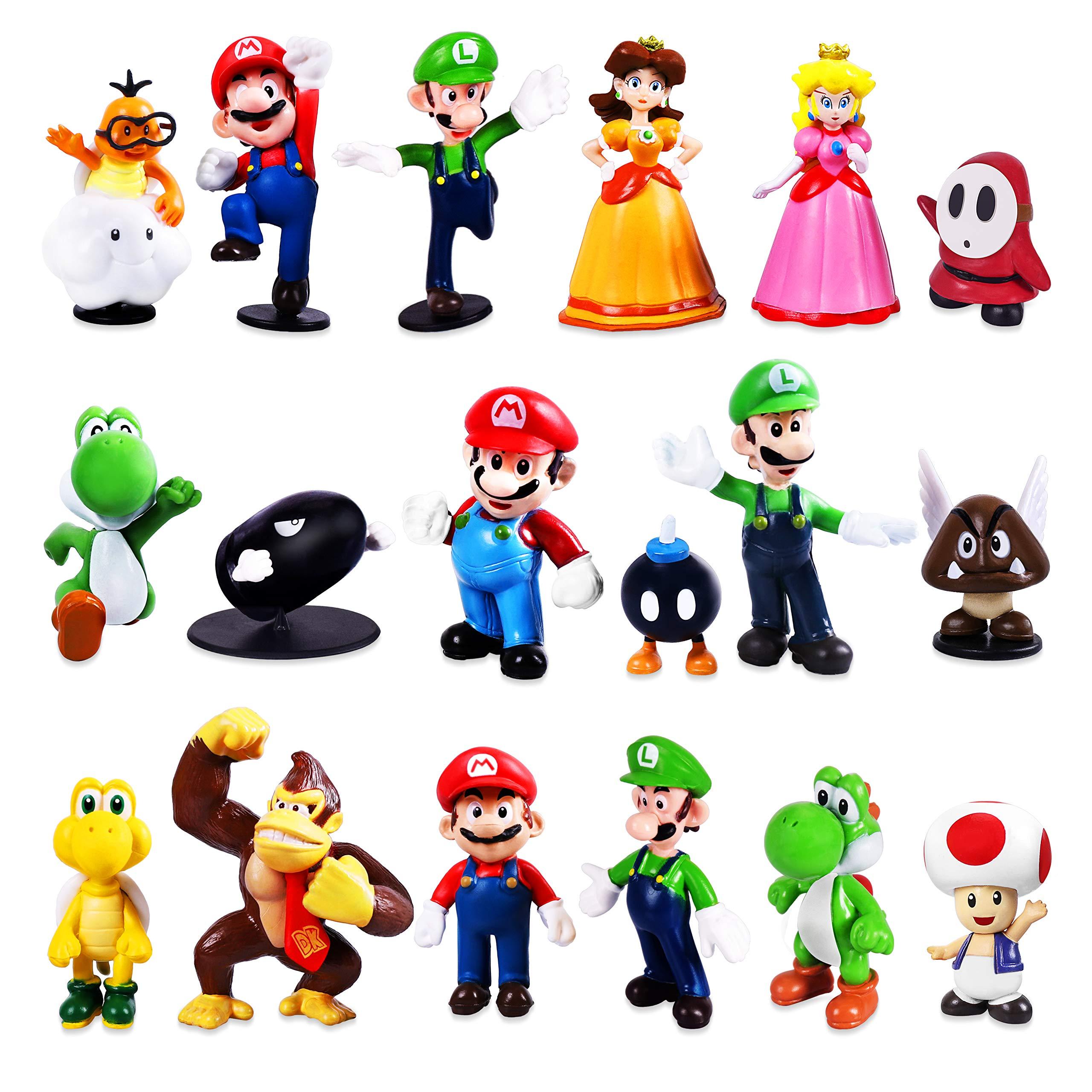 18pcs Super Mario Luggi Bros Action Figures Cake topper Kids Toy Set figurines
