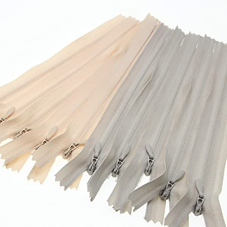 22 Nylon Coil Invisible Zippers for DIY Tailor Sewing Craft Mixed 10 PCS//Pack Leekayer Beige/&Grey,22 inch 3#
