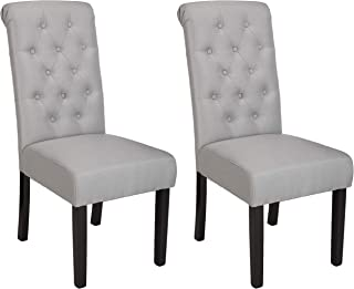 AmazonBasics Classic Fabric Tufted Dining Chair with Wooden Legs - Set of 2, Light Grey