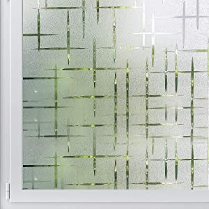 Mangobox Frosted Window Film,Non Adhesive Static Cling Decorative Window Film, Easy Removable Privacy Window Film for Home Office UV Protection Cross Pattern(17.7x78.7 inches)