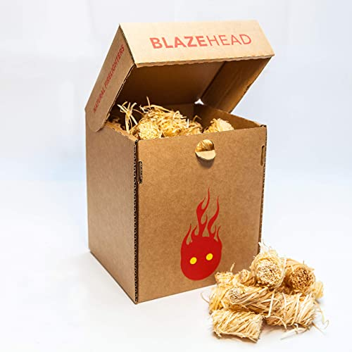 Natural Firelighters by BLAZEHEAD - 75(min) Wax coated twisted wood wool. Made in UK. Eco-friendly, sustainable. Ideal for lighting wood burning stove, open fires, BBQ, Campfire, Pizza oven, Chimeneas