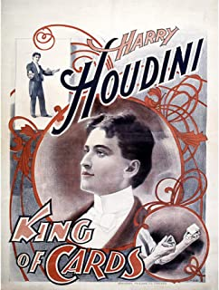 HARRY HOUDINI THE MAGICIAN KING OF CARDS VINTAGE ADVERTISING POSTER PRINT 12x16 inch 30x40cm 516PY