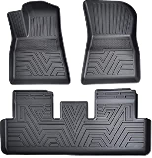 Auovo Floor Mats Fits for Tesla Model 3 2017 2018 2019 2020 2021 Accessories Complete Set All Weather Guard Protector Liners(Pack of 3)