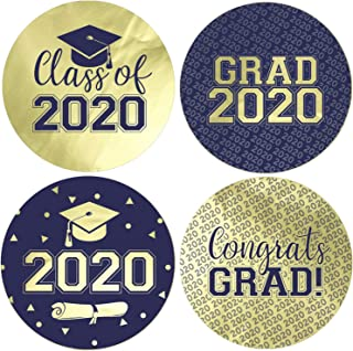 Class of 2020 Graduation Favor Labels, 1.75 in - 40 Stickers (Blue and Gold)