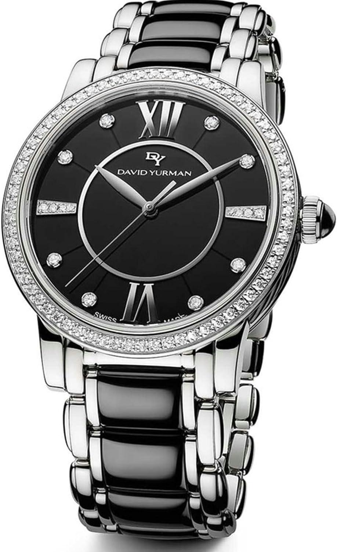 David Yurman Women's Classic Steel Black Ceramic Diamonds 38mm Watch