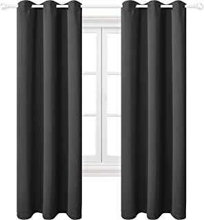 Texlab Blackout Curtains for Bedroom - Grommet Thermal Insulated Summer Heat/Winter Cold, Light Blocking Window Curtain Panels for Living Room, Set of 2 Pieces, 42 x 84 Inch, Dark Grey