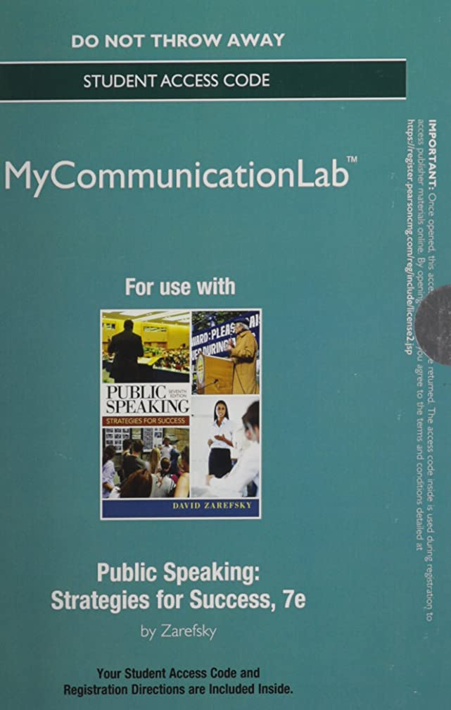 NEW MyCommunicationLab without Pearson eText -- Standalone Access Card -- for Public Speaking (7th Edition)