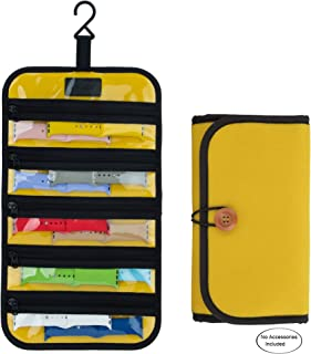 PACMAXI Watch Band Storage Roll Holds 10 Watch Bands Expandable for Most Sizes of Watch Bands, Organizer for Watch Band Straps Accessories Yellow