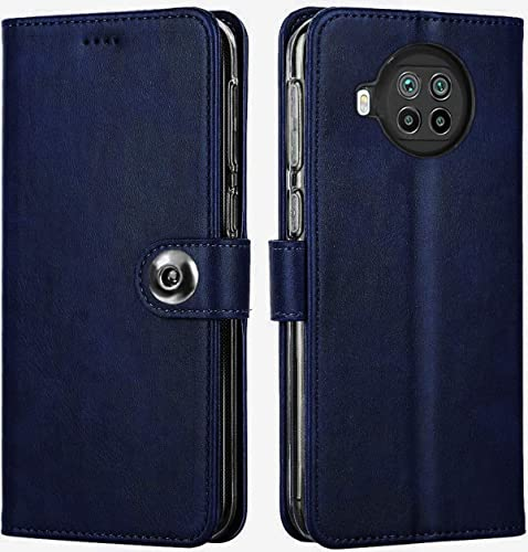 SHINESTAR Ultimate Leather Finish Flip Cover for Xiaomi Mi 10i 5G Inside TPU Inbuilt Stand Wallet Style Back Cover Case Stylish Button Magnetic Closure Blue