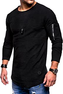 Halfword Mens Shirts Casual Crew-Neck Athletic Slim Fit Solid Color Long Sleeve Pullover
