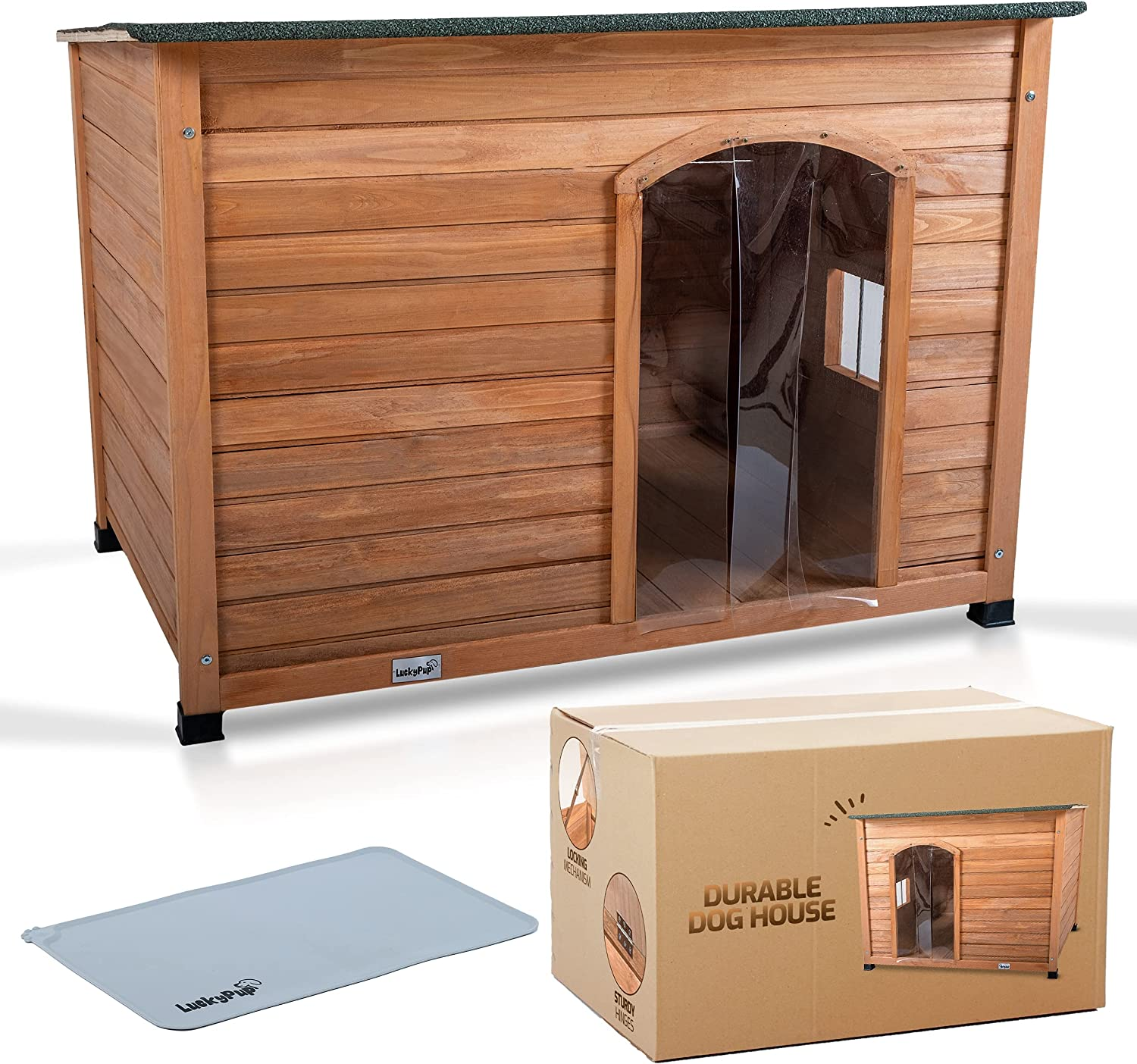 LuckyPup Wooden List price Dog House Dogs Very popular Insulated for Medium