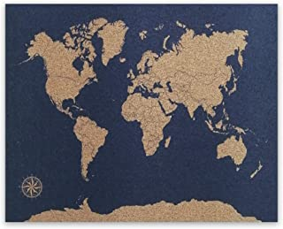 Mapa de Corcho Azul | Mapamundi 58x45cm