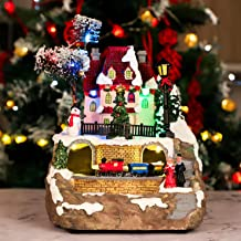 Christmas House Village, Dynamic Rotation Train Tunnel Scene, Led Lights Decorating, Battery Operated LED Light Up with Mu...