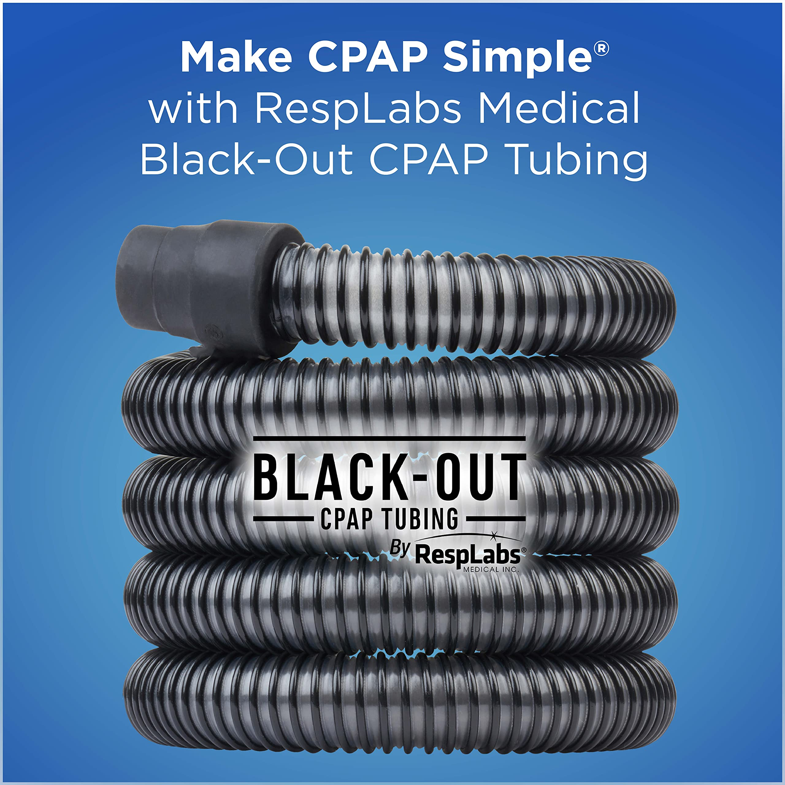 RespLabs Medical CPAP Hose, 6 Foot Black-Out Tubing - Durable, Universal Tube Replacement fits Most Machines.