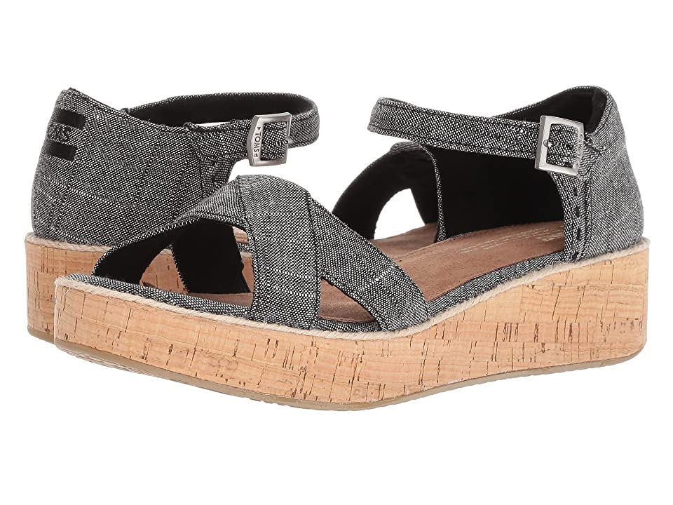 TOMS Harper (Black Textured Chambray) Women