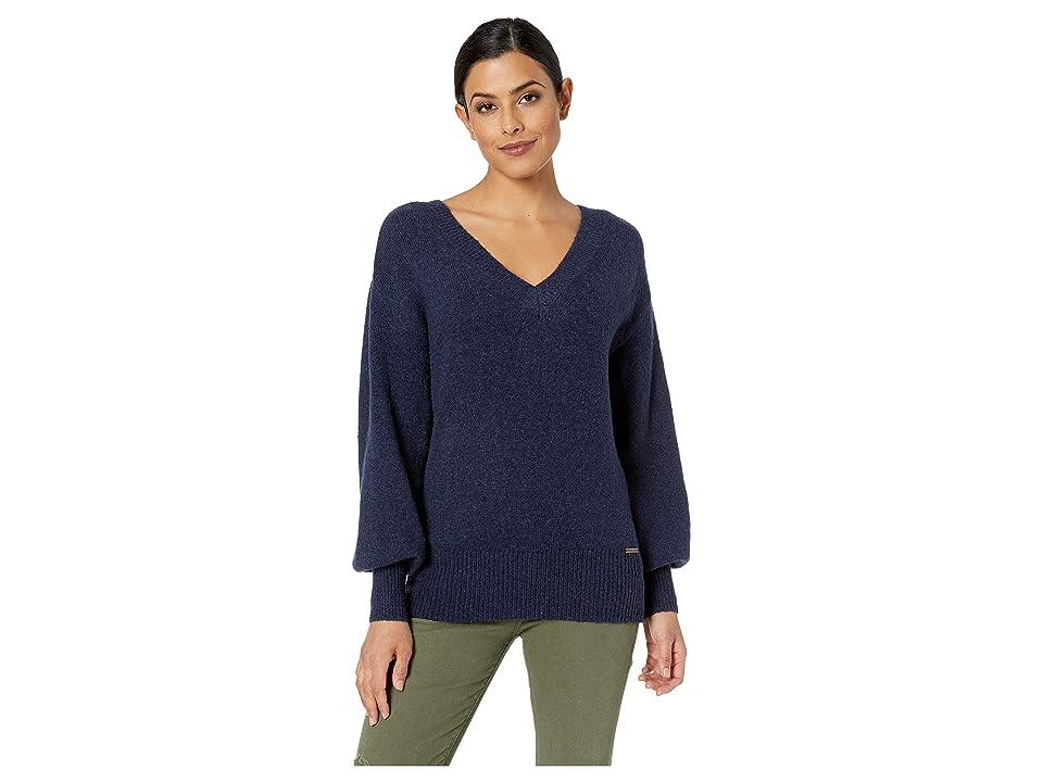 MICHAEL Michael Kors V-Neck Big Sleeve Sweater (True Navy) Women