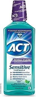 ACT Total Care Sensitive Formula Mouthwash 18 fl. oz. Anticavity Mouthwash With Fluoride, Mint
