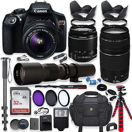 Canon EOS Rebel T6 - Cámara réflex digital con objetivo de 0.709-2.165in es II, lente Canon EF 2.953-11.811in f/4-5.6 III y objetivo preestablecido de 19.685in + memoria de 32 GB + filtros + monopié + trípode de araña + paquete profesional