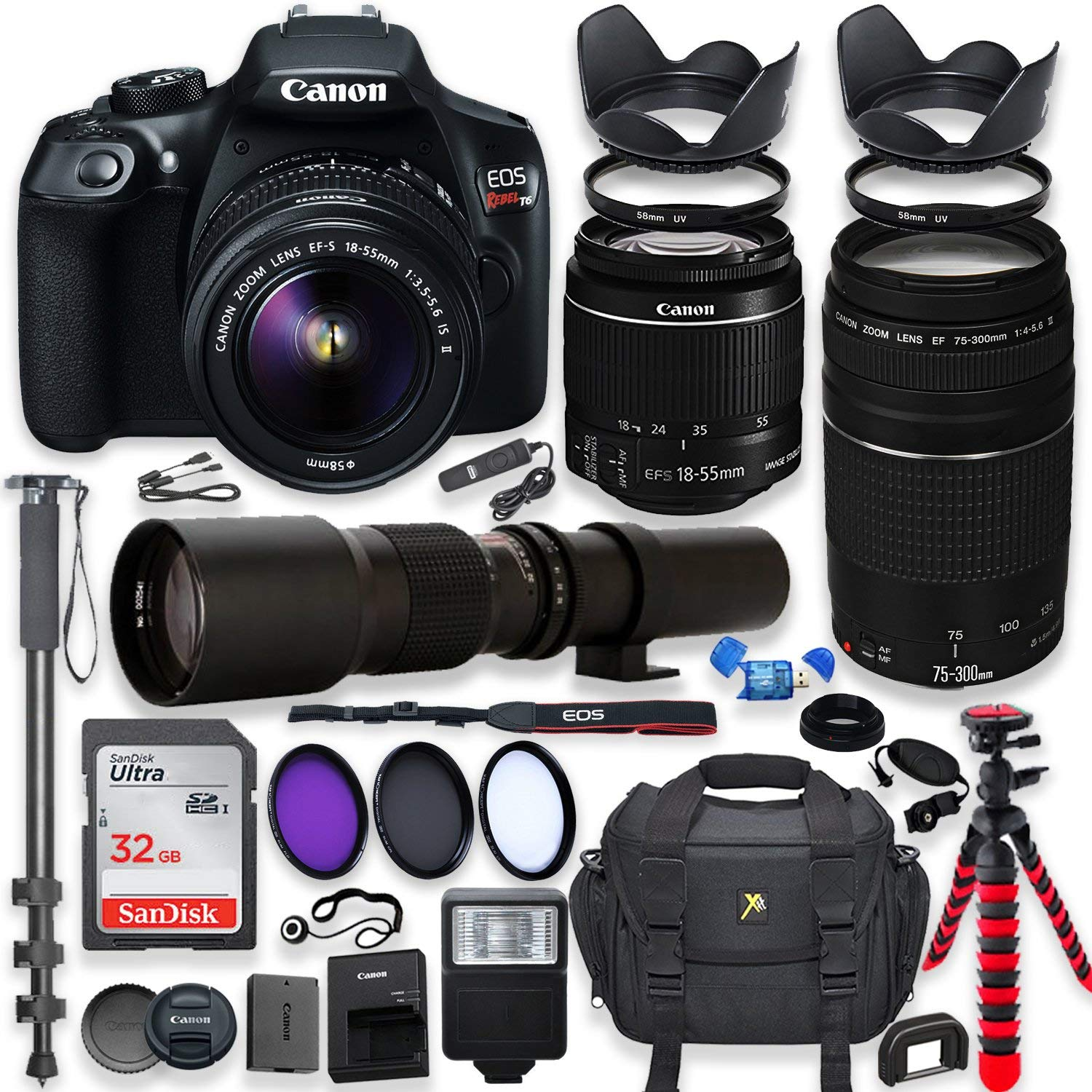 Canon Eos Rebel T6 Dslr Camera With 18 55mm Is Ii Lens