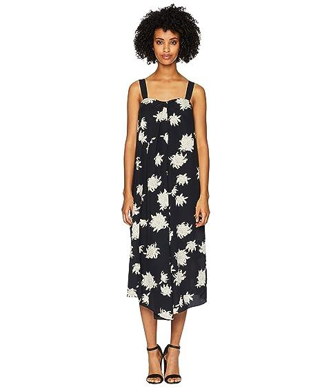 Asymmetric Floral-Print Silk-Crepe Midi Dress in Midnight Blue from 6PM.COM