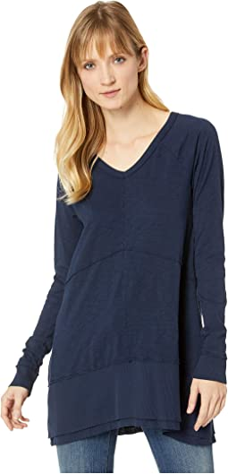 Heavier Slub Jersey Raglan Sleeve Seamed V-Neck Tunic