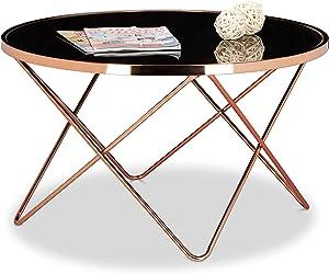 Relaxdays Copper Mesa Auxiliar Grande, Negro/Cobre, 49 X 85 X 85 cm