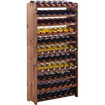 28-Bottle Classic Oak Storage Natural Floor Wine Rack Multi-Function Home Table