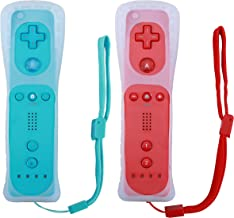 Poulep 2 Packs Wireless Controller for Nintendo Wii/Wii U Console with Silicone Case and Wrist Strap (Red and Blue)