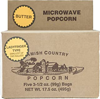 Amish Country Popcorn - 5 Bags Microwave Ladyfinger Butter - Old Fashioned Microwave Popcorn - Gluten Free, and Non GMO - with Recipe Guide