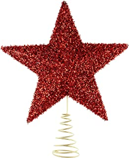 Clever Creations Red Star Christmas Tree Topper - Festive Christmas Decor - Sparkling Shatter Resistant Plastic - 7 inch Tall - Perfect for Any Size Christmas Tree
