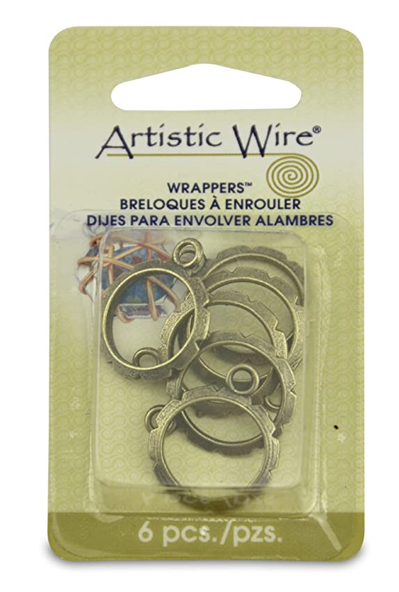 Artistic Wire,  Wrapper 20-Millimeter Round Findings, Antique Brass, 6 Piece