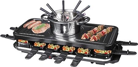 Silva-Homeline PK-RF 120 Appareil à raclette électrique Multifonction 3 en 1 avec Fondue et Grill, Noir